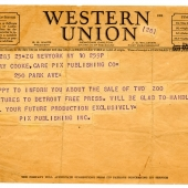 Cooke's first assignment, Western Union telegram