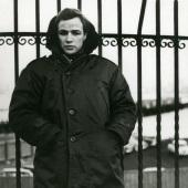 Marlon Brando on the set of On the Waterfront