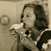 Tallula Bankhead feeding a parakeet, Bedford, NY, 1953