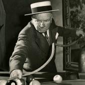 W.C. Felds with billiard stick, Hollywood, 1944